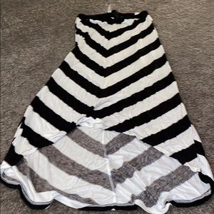 Aeropostale high low black and white stripe skirt